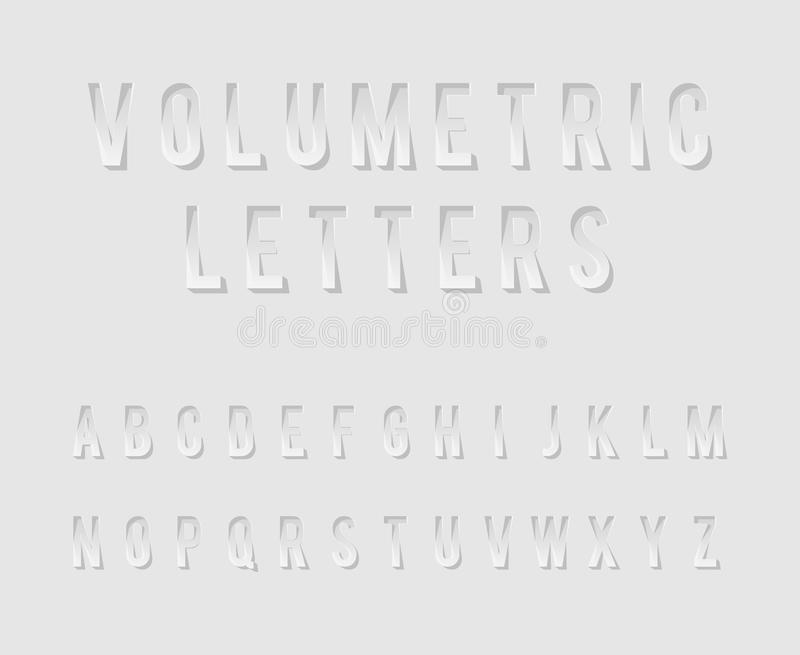 Volumetric Cutout Alphabet Letters Realistic 3d Template Design Mock Up Vector Illustration royalty free illustration