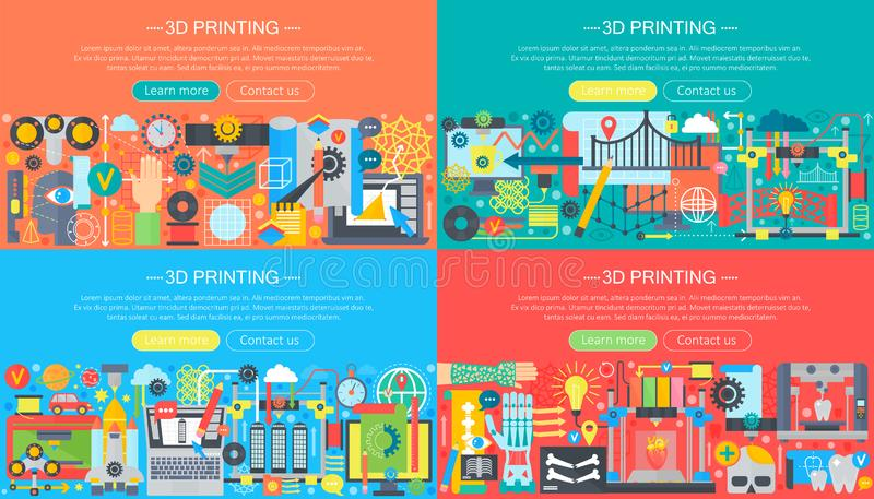 Volumetric 3d printing and modeling concepts collection. 3d compositing construction template design, web header vector stock illustration