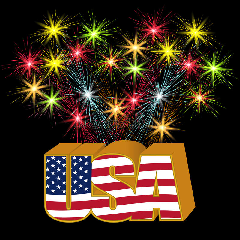 Volumetric 3D US stylized inscription under the colors of the flag on the background of fireworks illustration royalty free illustration