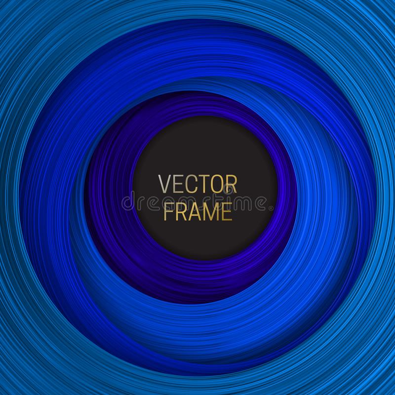 Volumetric frame on shades of blue background. Trendy packaging design or cover template.  vector illustration