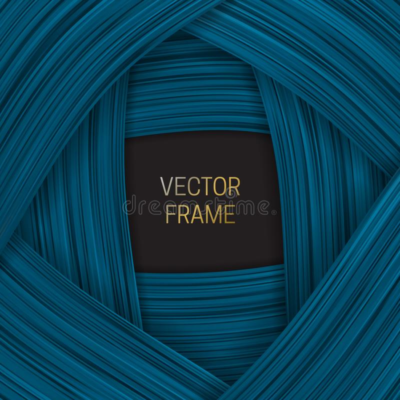 Volumetric frame on shades of blue background. Trendy packaging design or cover template.  royalty free illustration