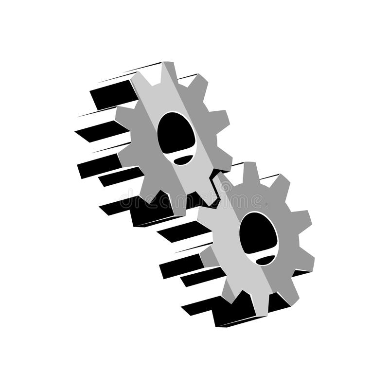 Volumetric gear logo vector illustration