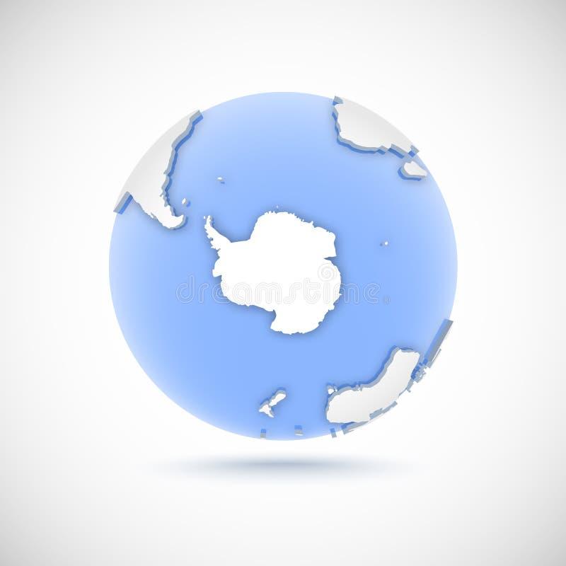 Volumetric globe in white and blue colors. 3d vector illustration Antarctica vector illustration