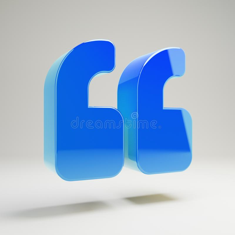 Volumetric glossy blue Double Quotes icon isolated on white background. 3D rendered digital symbol. Modern icon for website, internet marketing, presentation stock illustration