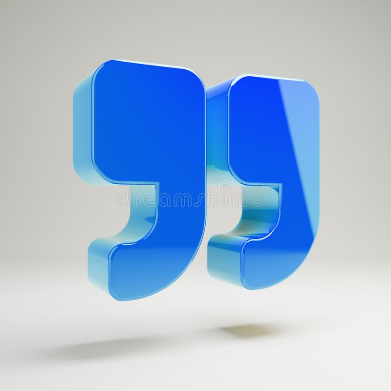 Volumetric glossy blue Double Quotes icon isolated on white background. 3D rendered digital symbol. Modern icon for website, internet marketing, presentation royalty free illustration