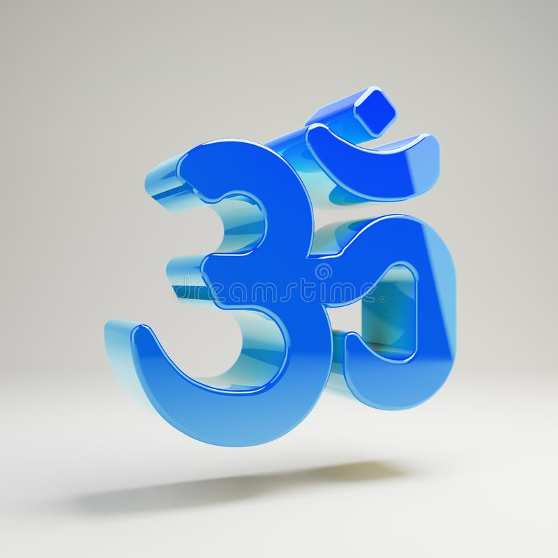 Volumetric glossy blue Om icon isolated on white background. 3D rendered digital symbol. Modern icon for website, internet marketing, presentation, logo design vector illustration