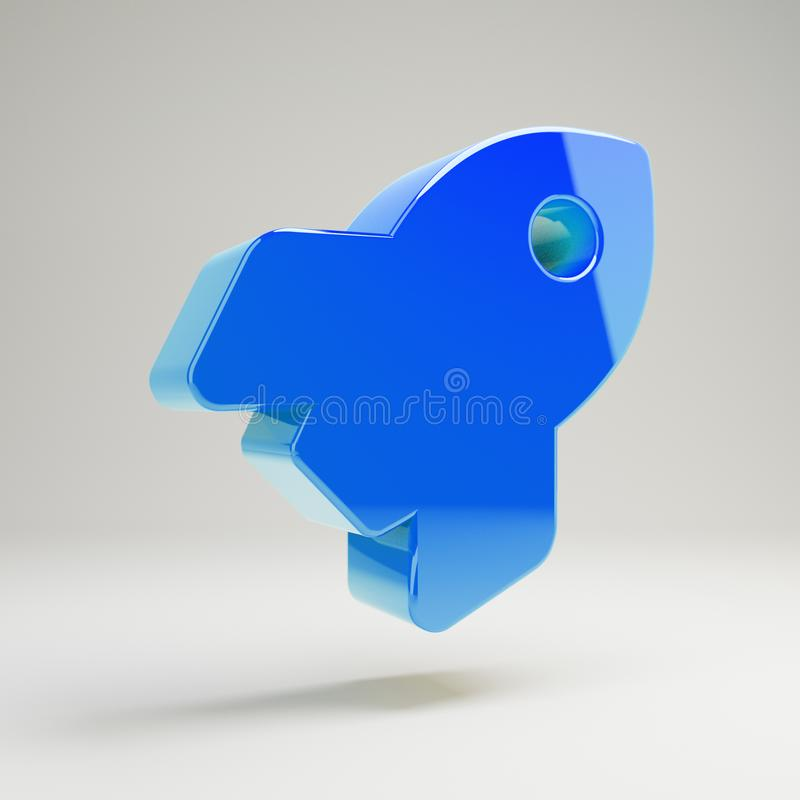 Volumetric glossy blue Rocket icon isolated on white background. 3D rendered digital symbol. Modern icon for website, internet marketing, presentation, logo vector illustration
