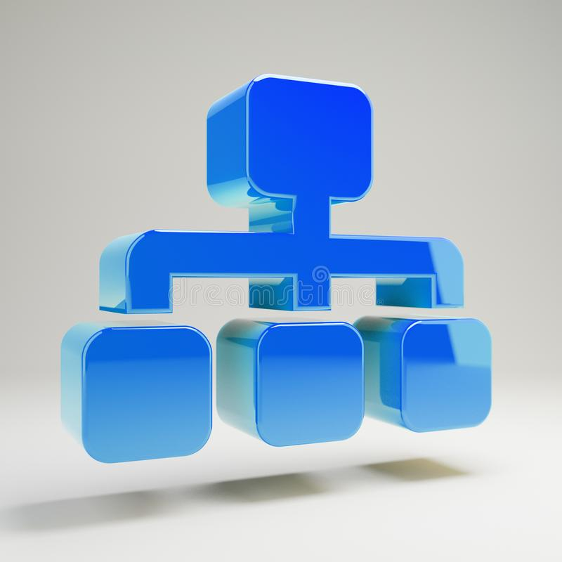 Volumetric glossy blue Sitemap icon isolated on white background. 3D rendered digital symbol. Modern icon for website, internet marketing, presentation, logo vector illustration