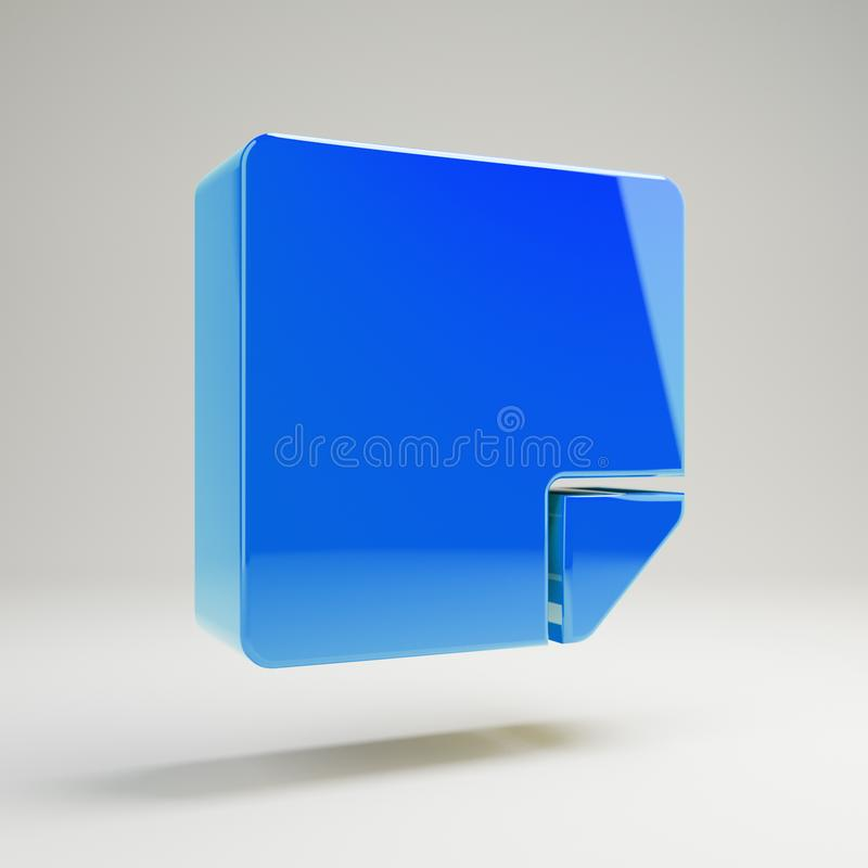 Volumetric glossy blue sticky-note icon isolated on white background. 3D rendered digital symbol. Modern icon for website, internet marketing, presentation vector illustration