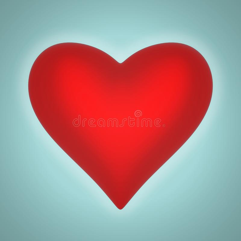 Volumetric glossy heart shape vector illustration