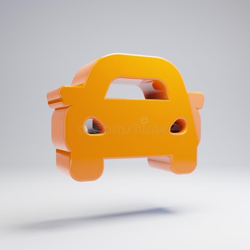 Volumetric glossy hot orange Car icon isolated on white background. 3D rendered digital symbol. Modern icon for website, internet marketing, presentation, logo royalty free illustration