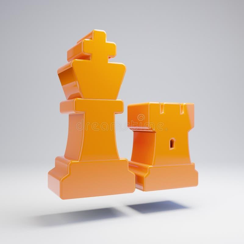 Volumetric glossy hot orange Chess icon isolated on white background. 3D rendered digital symbol. Modern icon for website, internet marketing, presentation stock illustration
