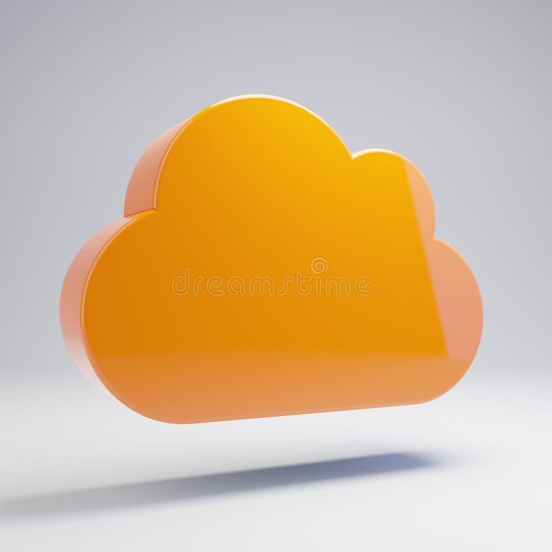 Volumetric glossy hot orange Cloud icon isolated on white background. 3D rendered digital symbol. Modern icon for website, internet marketing, presentation royalty free illustration