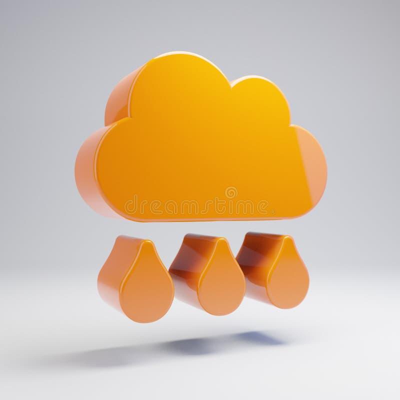 Volumetric glossy hot orange Cloud Rain icon isolated on white background. 3D rendered digital symbol. Modern icon for website, internet marketing royalty free illustration