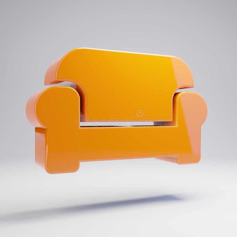 Volumetric glossy hot orange Couch icon isolated on white background. 3D rendered digital symbol. Modern icon for website, internet marketing, presentation royalty free illustration