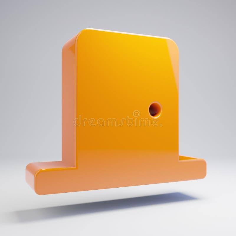 Volumetric glossy hot orange Door Close icon isolated on white background royalty free illustration