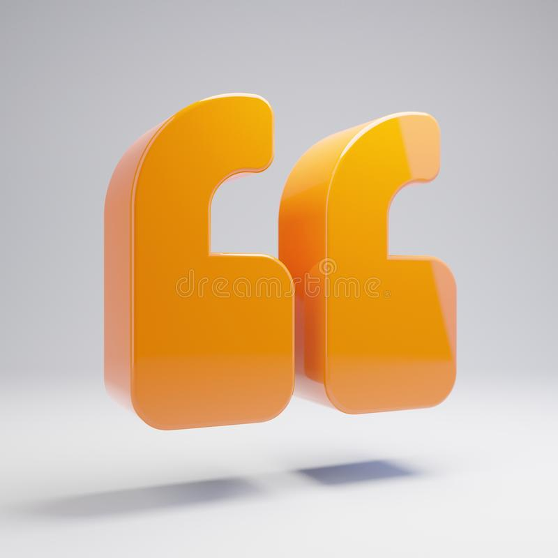Volumetric glossy hot orange Double Quotes icon isolated on white background. 3D rendered digital symbol. Modern icon for website, internet marketing royalty free illustration