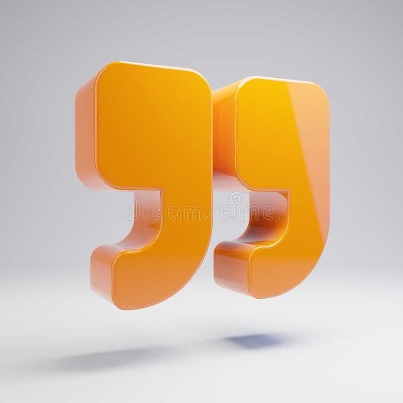 Volumetric glossy hot orange Double Quotes icon isolated on white background. 3D rendered digital symbol. Modern icon for website, internet marketing vector illustration