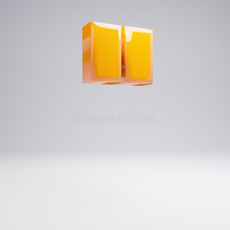 Volumetric glossy hot orange double quotes symbol isolated on white background. 3D rendered alphabet. Modern font for banner, poster, cover, logo design stock illustration