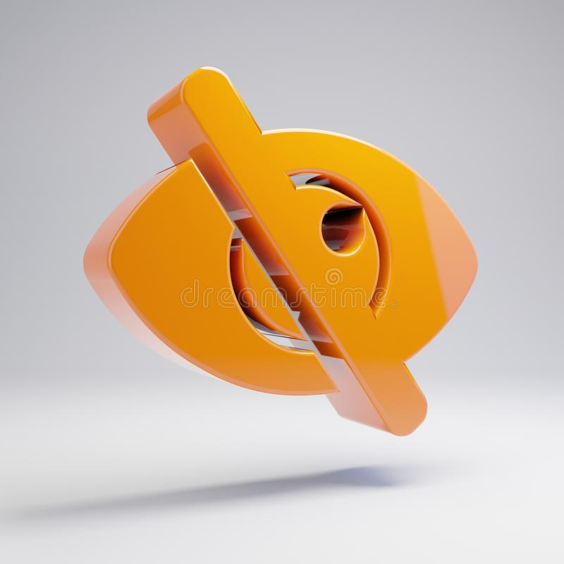 Free Volumetric Glossy Hot Orange Eye Slash Icon Isolated On White Background Royalty Free Stock Photography - 146970157