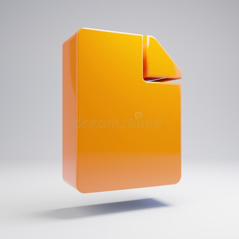 Volumetric glossy hot orange File icon isolated on white background. 3D rendered digital symbol. Modern icon for website, internet marketing, presentation stock illustration