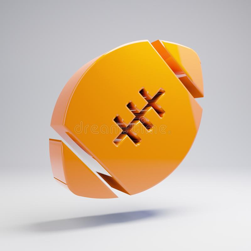 Volumetric glossy hot orange Football Ball icon isolated on white background. 3D rendered digital symbol. Modern icon for website, internet marketing stock image