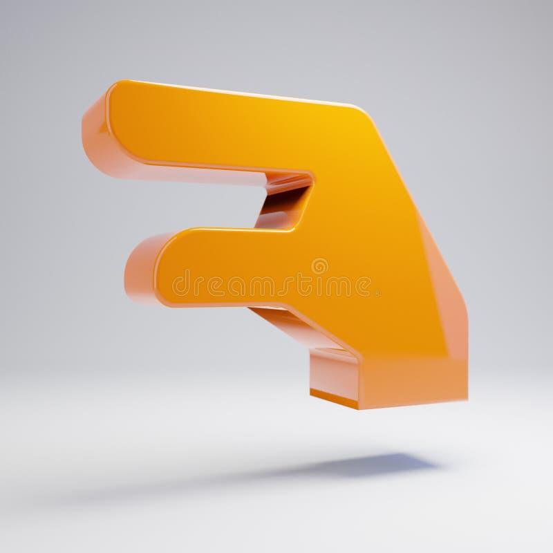 Volumetric glossy hot orange Hand Lizard icon isolated on white background vector illustration