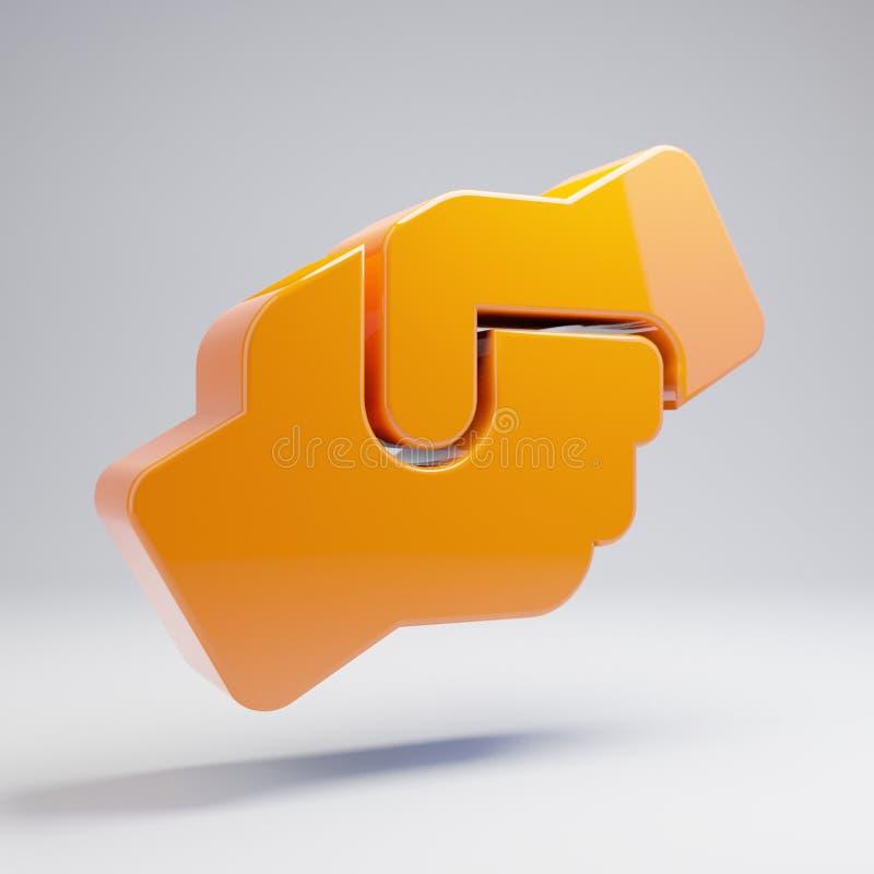 Volumetric glossy hot orange Hands Helping icon isolated on white background stock illustration