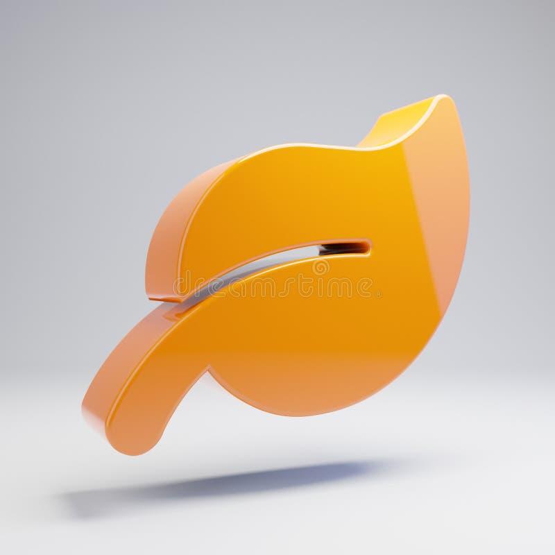 Volumetric glossy hot orange Leaf icon isolated on white background. 3D rendered digital symbol. Modern icon for website, internet marketing, presentation royalty free illustration