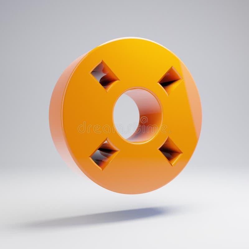 Volumetric glossy hot orange Life Ring icon isolated on white background. 3D rendered digital symbol. Modern icon for website, internet marketing, presentation vector illustration