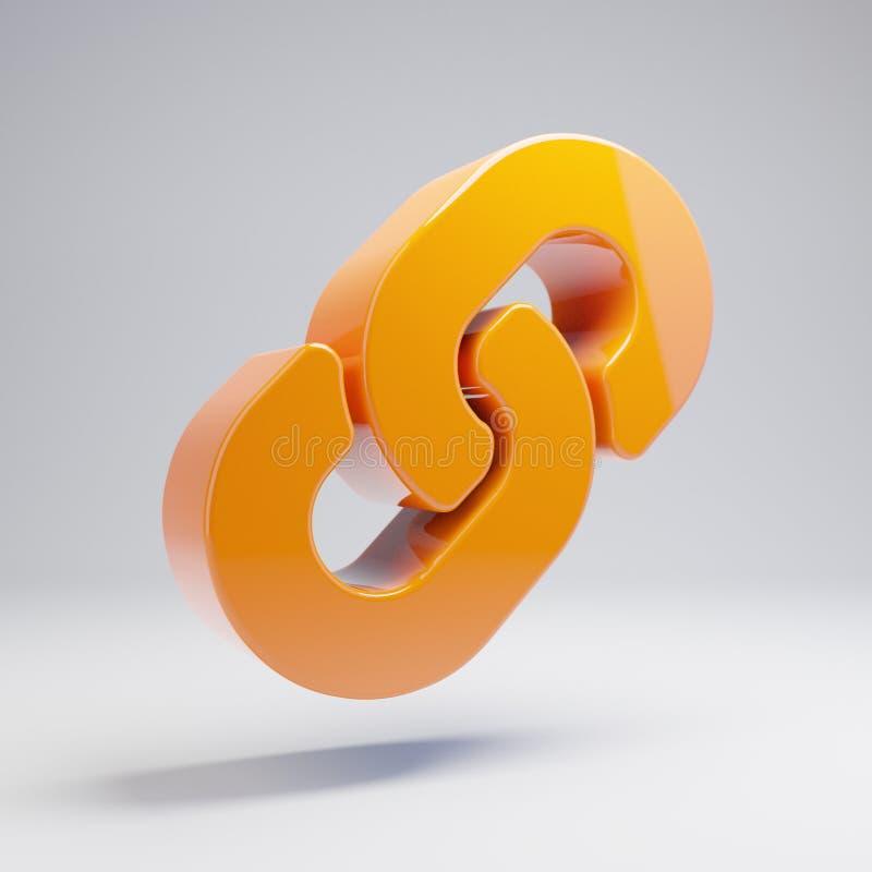 Volumetric glossy hot orange Link icon isolated on white background. 3D rendered digital symbol. Modern icon for website, internet marketing, presentation stock illustration