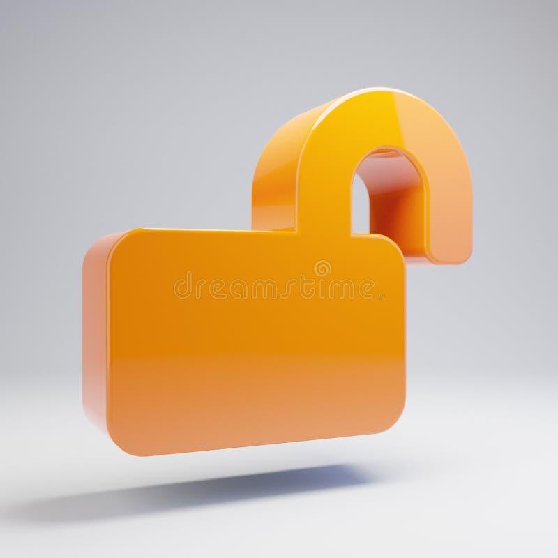 Volumetric glossy hot orange Lock Open icon isolated on white background. 3D rendered digital symbol. Modern icon for website, internet marketing, presentation stock illustration