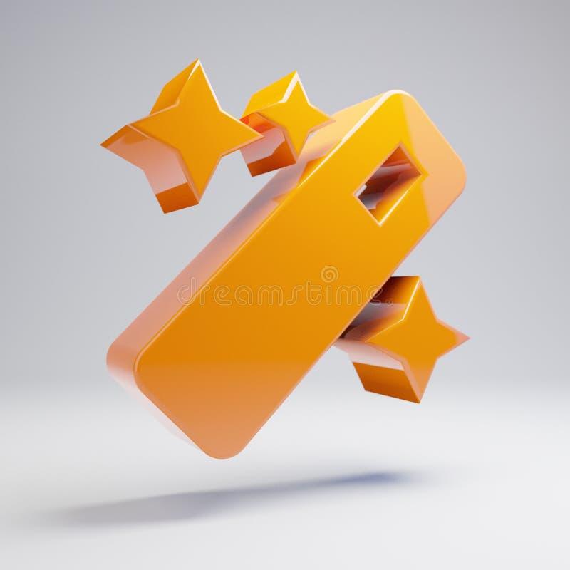 Volumetric glossy hot orange Magic Wand icon isolated on white background. 3D rendered digital symbol. Modern icon for website, internet marketing vector illustration