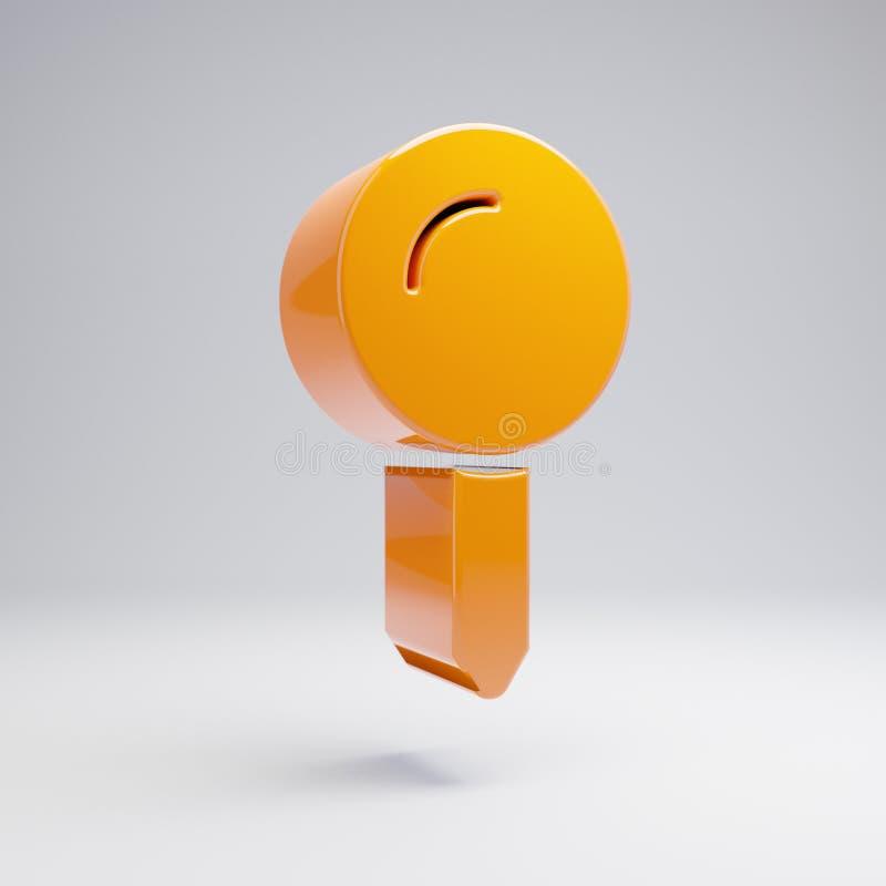 Volumetric glossy hot orange Map Pin icon isolated on white background. 3D rendered digital symbol. Modern icon for website, internet marketing, presentation royalty free illustration