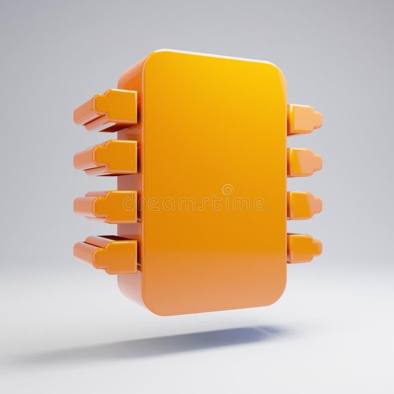 Volumetric glossy hot orange Microchip icon isolated on white background. 3D rendered digital symbol. Modern icon for website, internet marketing, presentation stock illustration