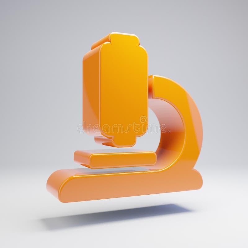 Volumetric glossy hot orange Microscope icon isolated on white background royalty free illustration