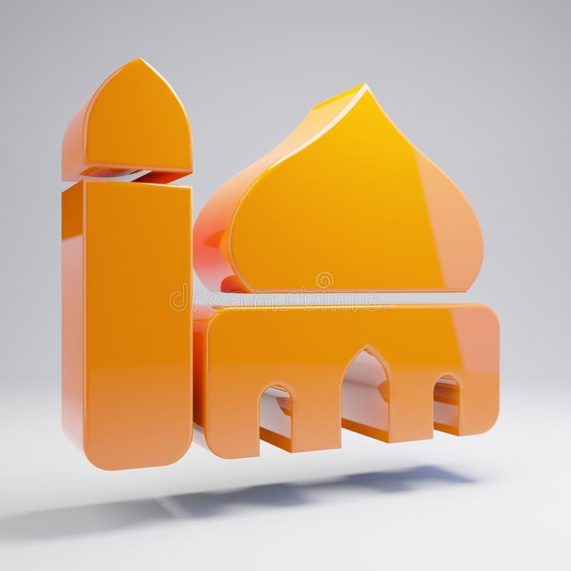 Volumetric glossy hot orange Mosque icon isolated on white background. 3D rendered digital symbol. Modern icon for website, internet marketing, presentation royalty free illustration
