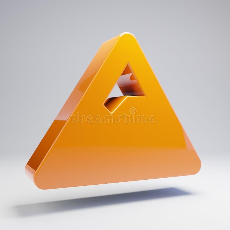 Volumetric glossy hot orange Mountain icon isolated on white background. 3D rendered digital symbol. Modern icon for website, internet marketing, presentation stock illustration