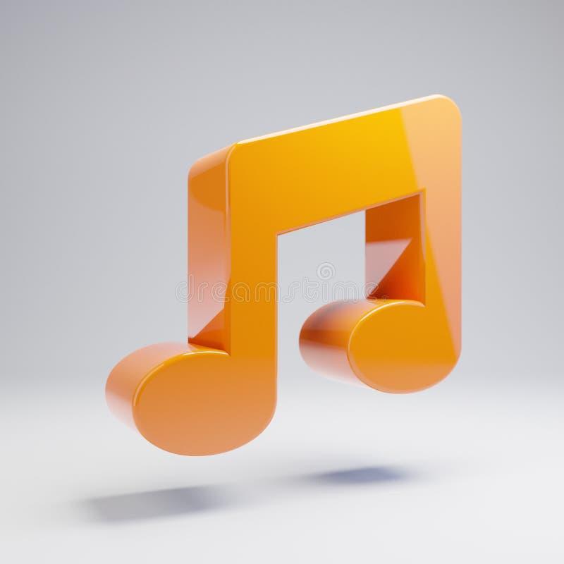 Volumetric glossy hot orange Music icon isolated on white background royalty free illustration