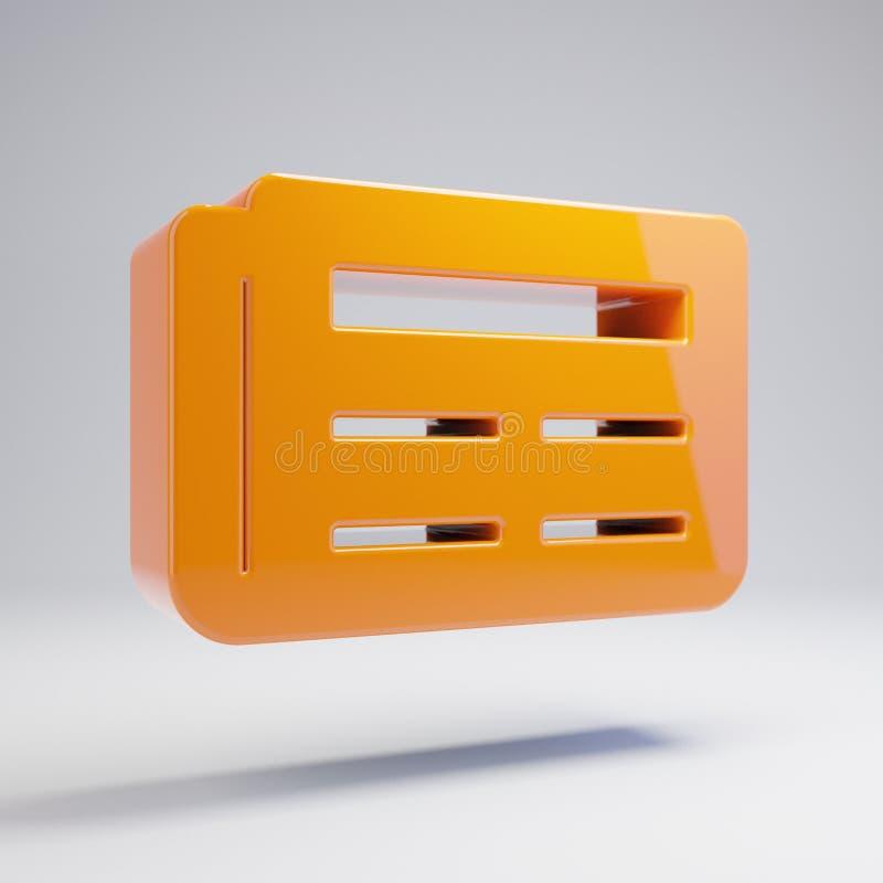 Volumetric glossy hot orange Newspaper icon isolated on white background. 3D rendered digital symbol. Modern icon for website, internet marketing, presentation royalty free illustration