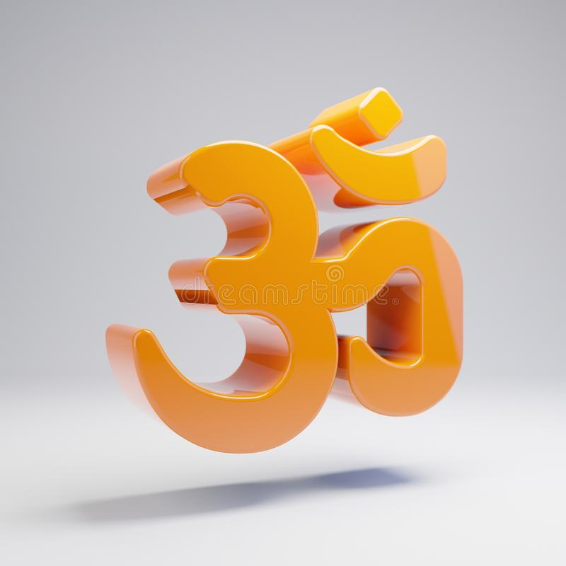 Volumetric glossy hot orange Om icon isolated on white background. 3D rendered digital symbol. Modern icon for website, internet marketing, presentation, logo royalty free illustration