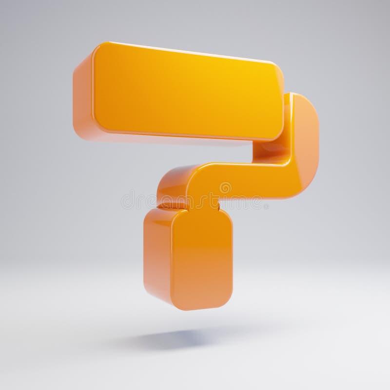 Volumetric glossy hot orange Paint Roller icon isolated on white background. 3D rendered digital symbol. Modern icon for website, internet marketing stock illustration
