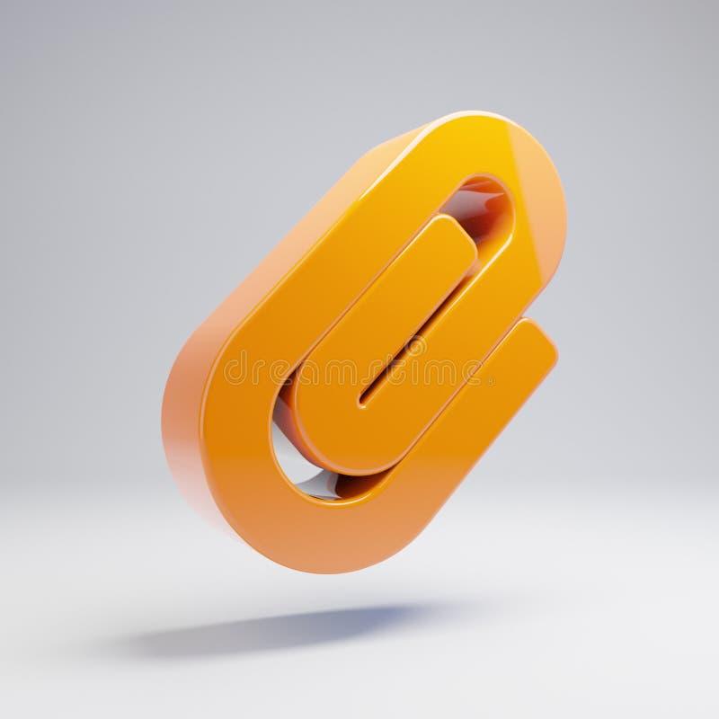 Volumetric glossy hot orange Paperclip icon isolated on white background. 3D rendered digital symbol. Modern icon for website, internet marketing, presentation stock illustration