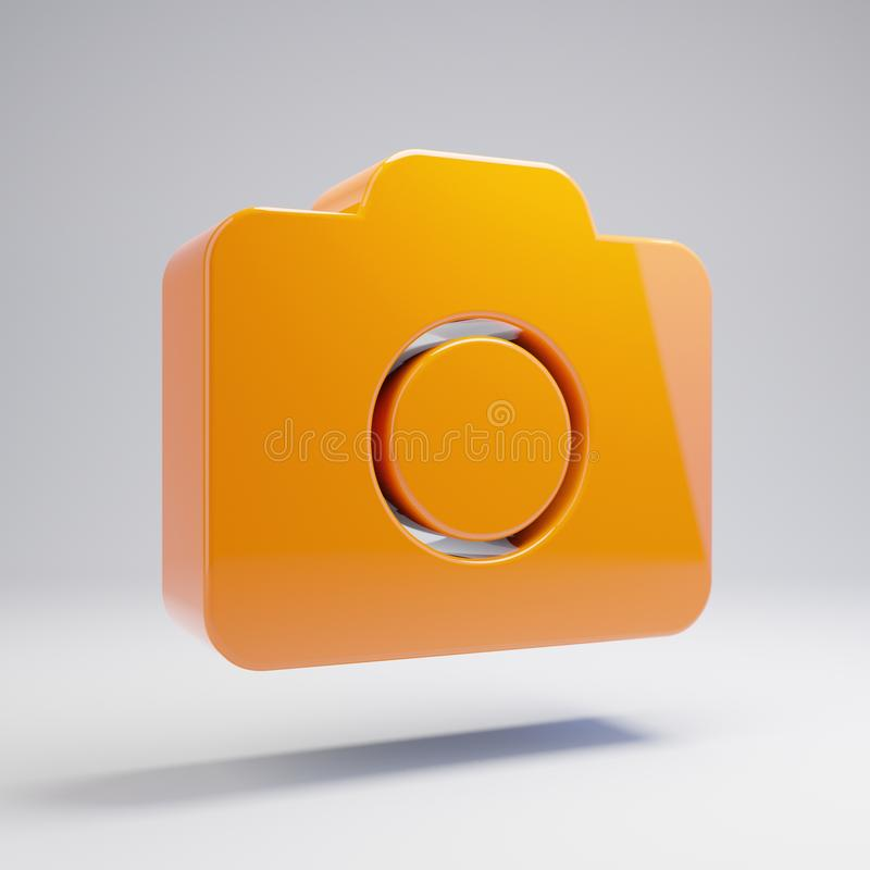 Volumetric glossy hot orange Photo Camera icon isolated on white background. 3D rendered digital symbol. Modern icon for website, internet marketing stock illustration
