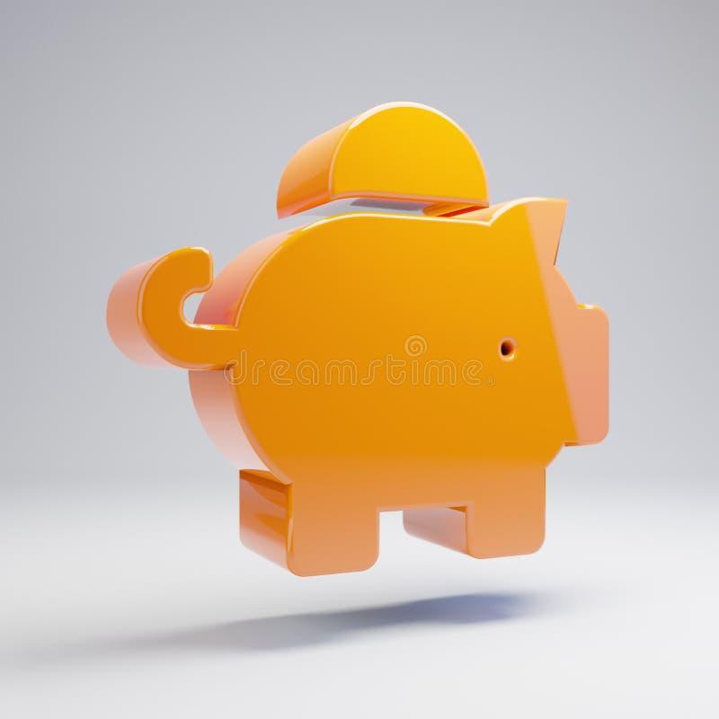 Volumetric glossy hot orange Piggy Bank icon isolated on white background. 3D rendered digital symbol. Modern icon for website, internet marketing vector illustration
