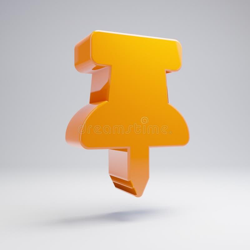 Volumetric glossy hot orange pin icon isolated on white background. 3D rendered digital symbol. Modern icon for website, internet marketing, presentation, logo royalty free illustration