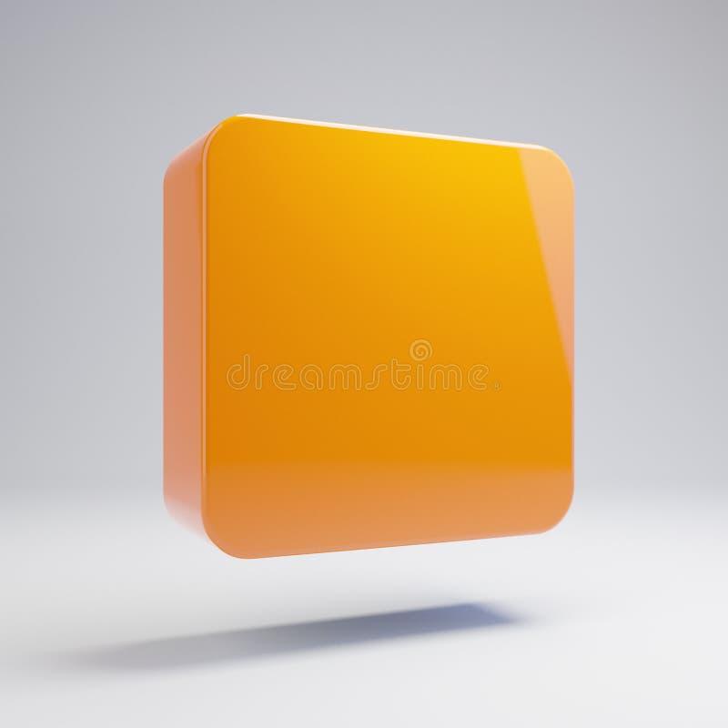 Volumetric glossy hot orange stop icon isolated on white background. 3D rendered digital symbol. Modern icon for website, internet marketing, presentation stock illustration