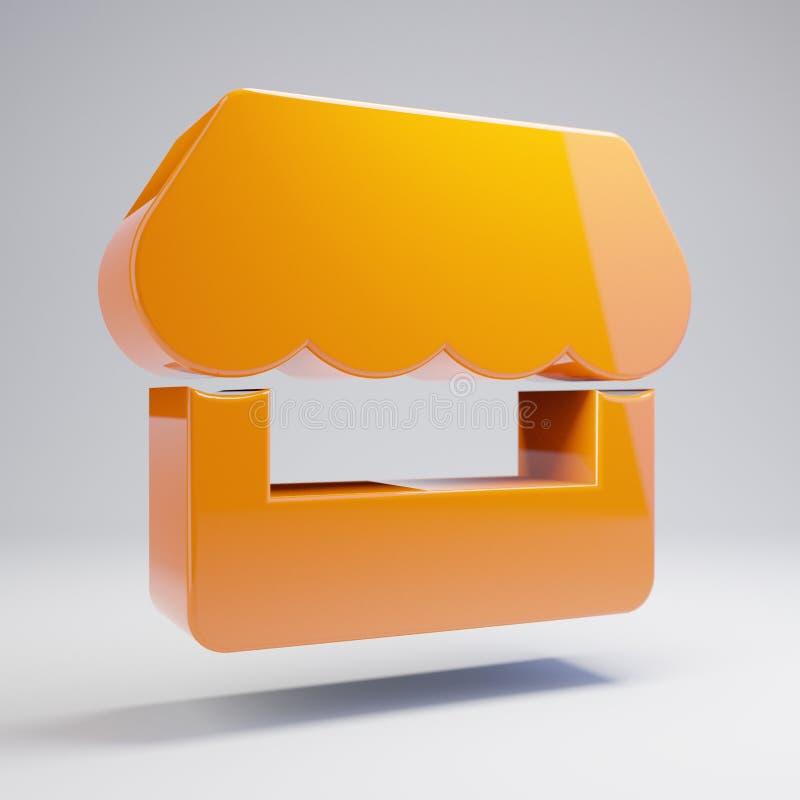 Volumetric glossy hot orange store icon isolated on white background. 3D rendered digital symbol. Modern icon for website, internet marketing, presentation vector illustration