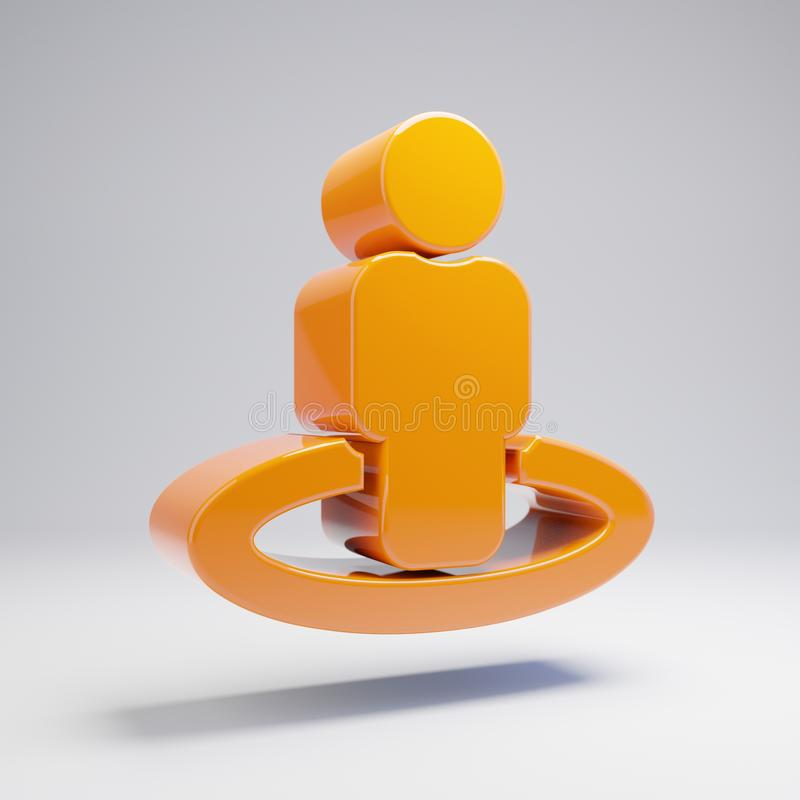 Volumetric glossy hot orange street-view icon isolated on white background. 3D rendered digital symbol. Modern icon for website, internet marketing vector illustration