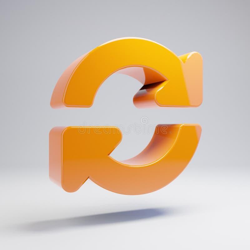 Volumetric glossy hot orange sync icon isolated on white background. 3D rendered digital symbol. Modern icon for website, internet marketing, presentation stock illustration